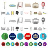 Park, equipment cartoon icons in set collection for design. Walking and rest vector symbol stock web illustration. Park, equipment cartoon icons in set stock illustration