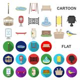 Park, equipment cartoon icons in set collection for design. Walking and rest vector symbol stock web illustration. Park, equipment cartoon icons in set royalty free illustration