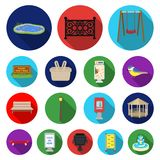 Park, equipment flat icons in set collection for design. Walking and rest vector symbol stock web illustration. Park, equipment flat icons in set collection for Royalty Free Stock Images