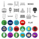 Park, equipment flat icons in set collection for design. Walking and rest vector symbol stock web illustration. Park, equipment flat icons in set collection for stock illustration