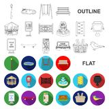Park, equipment flat icons in set collection for design. Walking and rest vector symbol stock web illustration. Park, equipment flat icons in set collection for vector illustration
