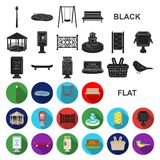 Park, equipment flat icons in set collection for design. Walking and rest vector symbol stock web illustration. Park, equipment flat icons in set collection for royalty free illustration