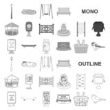 Park, equipment monochrom icons in set collection for design. Walking and rest vector symbol stock web illustration. Park, equipment monochrom icons in set stock illustration