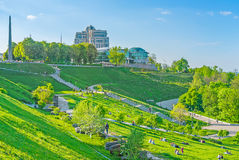 Park of Eternal Glory. KIEV, UKRAINE - MAY 1, 2016: Park of Eternal Glory consists of terraces, so beloved by couples during warm season, on May 1, in Kiev Royalty Free Stock Photos