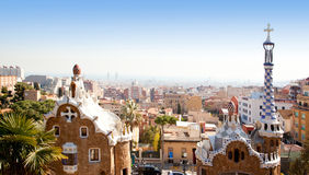 park för modernism för barcelona gaudiguell royaltyfri bild
