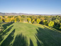 Park in fall colors - aerial view Stock Photography
