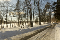Park Fence Snowy Stock Photos