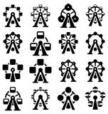 Vector park ferris wheel icons. Vector collection of park ferris wheel icons Stock Image
