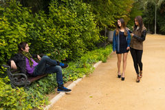 Park flirt scene Stock Photography