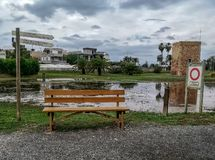 Park flooded by the flood of the Ana river royalty free stock photography