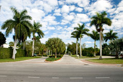 Park in florida with luxury mansions Stock Photo