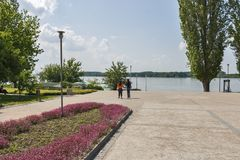 Park with flowers at the center of town of Silistra, Bulgaria royalty free stock photography