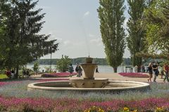Park with flowers at the center of town of Silistra, Bulgaria royalty free stock photo