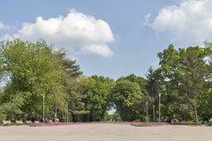 Park with flowers at the center of town of Silistra, Bulgaria stock image