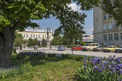 Park with flowers at the center of town of Silistra, Bulgaria stock images
