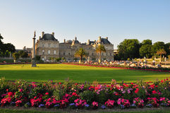 Park with flowers in Paris: Jardin du Luxembourg palace. Stock Photography
