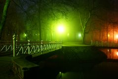 Park in the fog stock image