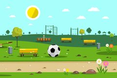 Park with Football Ball. And Playground on Background Vector Illustration