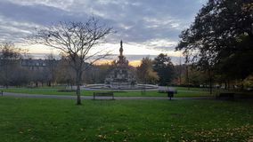Park and fountain in Glasgow Royalty Free Stock Photography