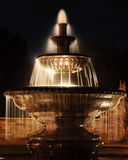 Park Fountain at Night. Small town park fountain at night Stock Photos