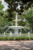 Park Fountain Past Brick Walkway royalty free stock photos
