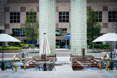Park with fountain and tables in Uptown Charlotte, North Carolina. stock photography