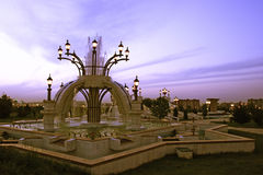 Park fountains in the evening Royalty Free Stock Images
