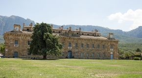 Ficuzza. Park in front of the Bourbon royal palace of Ficuzza fraction of corleone, near Palermo - Sicily Italy royalty free stock photo