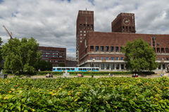 Park in front of City Hall in Oslo. Norway stock photography
