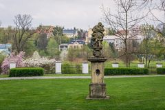 Park in Frydek Mistek. Sculpture in castle park in Frydek-Mistek city in the Moravian-Silesian Region of Czech Republic Royalty Free Stock Photo