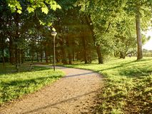 Parks. Park full of greenery in the suburbs of Milan, Cernusco sul Naviglio stock photo