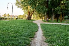 Parks. Park full of greenery in the suburbs of Milan, Cernusco sul Naviglio royalty free stock photo