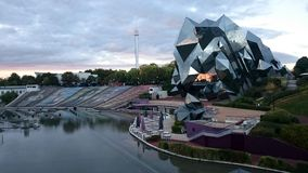 The park of futuroscope during the sunset Royalty Free Stock Photo