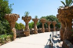 Park Güell designed by Catalan architect Antoni Güell in Barcelona, Spain. Royalty Free Stock Images