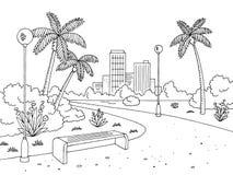 Park gömma i handflatan diagrammet som det svarta vita bänklamplandskapet skissar illustrationvektorn royaltyfri illustrationer
