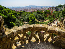 Park Güell, view from the top. View from above Park Güell in Barcelona, Spain. UNESCO world heritage site Stock Photos