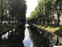 Park garden canal trees stock photos