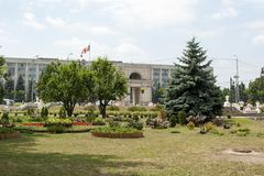 Moldova park - Chisinau. Park and garden with flowers in the background the Arch of Triumph, Chisinau, Kisinev Moldova, center of city stock photo