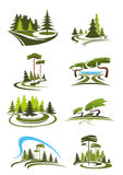 Park, garden and forest landscape icons Stock Photography