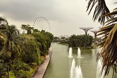 Gardens By The Bay from above in Singapore royalty free stock photo