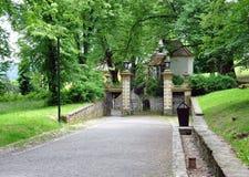Park and gates in the park Bouzov, Czech Republic, Europe Stock Photos
