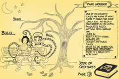 Park grabber. Funny monster illustration as part of the `Book of creatures`. It attacks in the parks stock illustration