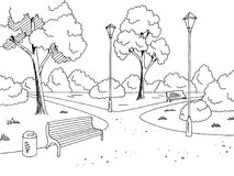 Free Park Graphic Black White Bench Lamp Landscape Sketch Illustration Vector Royalty Free Stock Images - 103380739