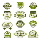 Park, green city garden, eco landscaping badge set. Park, green city garden, eco landscape design, forest nature badge set. Green tree with decorative grass lawn Stock Image
