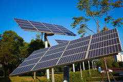 Park green energy solar power system Royalty Free Stock Images