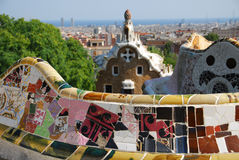 Park Guel in Barcelona. Parc Guell Barcelona, one of Antoni Gaudi design royalty free stock image