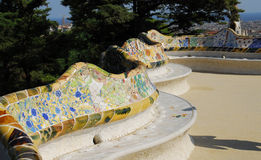 Park Guel in Barcelona. Parc Guell Barcelona, one of Antoni Gaudi design stock photography
