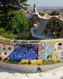 Park Guel in Barcelona. Parc Guell Barcelona, one of Antoni Gaudi design stock images