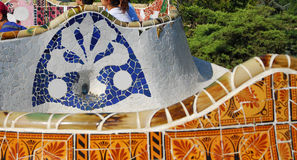 Park Guel in Barcelona. Parc Guell Barcelona, one of Antoni Gaudi design royalty free stock photos