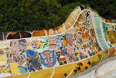 Park Guel in Barcelona. Parc Guell Barcelona, one of Antoni Gaudi design, september 2009 stock photography